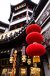 Red lanterns and traditional architecture details of the Old Town of Shanghai, China