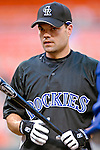 20 July 2007: Colorado Rockies infielder Jamey Carroll awaits his turn in the batting cage prior to a game against the Washington Nationals at RFK Stadium in Washington, DC. The Rockies defeated the Nationals 3-1 in the second game of their 4-game series...Mandatory Photo Credit: Ed Wolfstein Photo