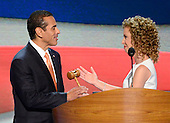 United States Representative Debbie Wasserman Schultz (Democrat of Florida), Chairman of the Democratic National Committee, right, hands the gavel to the Permanent Chair of the 2012 Democratic Convention Committee Mayor Antonio R. Villaraigosa of Los Angeles, California, at the 2012 Democratic National Convention in Charlotte, North Carolina on Tuesday, September 4, 2012.  .Credit: Ron Sachs / CNP.(RESTRICTION: NO New York or New Jersey Newspapers or newspapers within a 75 mile radius of New York City)