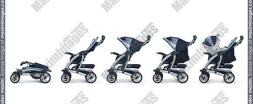 Modern convertible baby stroller sequence of images isolated on white background
