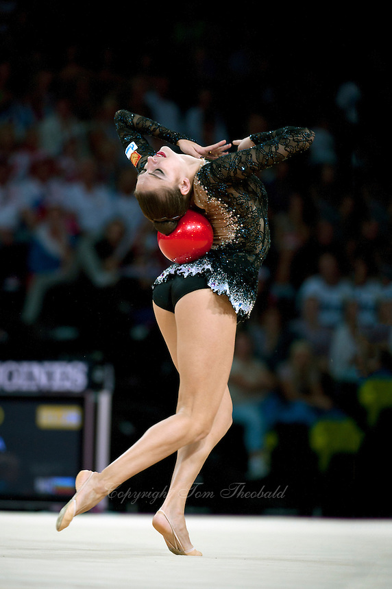 September 23, 2011; Montpellier, France;  EVGENIYA KANAEVA of Russia performs with ball in the all around final to win gold at 2011 World Championships.