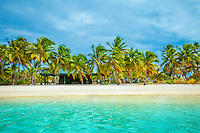 View of One Foot Island beach from a boat in Aitutaki Lagoon, Cook Islands.