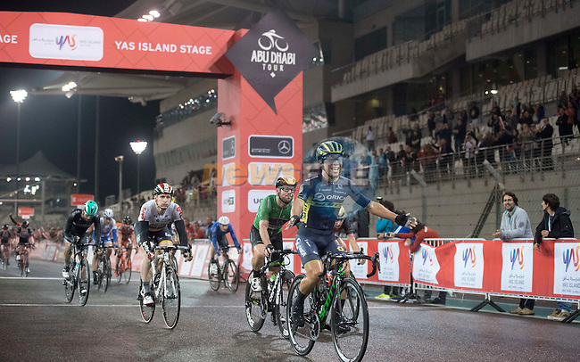 Caleb Ewan (AUS) Orica-Scott wins Stage 4 Yas Island Stage of the 2017 Abu Dhabi Tour, 143km with 26 laps of 5.5km of the Yas Marina Circuit, Abu Dhabi. 26th February 2017.<br /> Picture: ANSA/Claudio Peri | Newsfile<br /> <br /> <br /> All photos usage must carry mandatory copyright credit (&copy; Newsfile | ANSA)