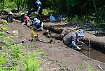 Excavators work on a new site at Sannai-Maruyama, a large settlement  of the early to middle Jomon era, about 5,500 to 4,000 years ago, in Aomori Prefecture, Japan on 12 July 2011..Photographer: Robert Gilhooly