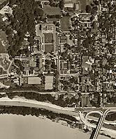 historical aerial photograph Georgetown medical center along Potomac River, Washington, DC, 1951