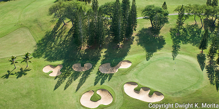 Aerial view of the signature twelfth hole on the Mid-Pacific Country Club golf course.