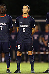 05 September 2014: Connecticut's Dylan Greenberg. The Wake Forest University Demon Deacons hosted the University of Connecticut Huskies at W. Dennie Spry Soccer Stadium in Winston-Salem, North Carolina in a 2014 NCAA Division I Men's Soccer match. Wake Forest won the game 2-1 in sudden death overtime.