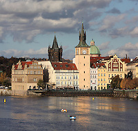 The Bedrich Smetana Museum, dedicated to the life and works of the Czech composer Bedrich Smetana, 1824-1884, on the banks of the Vltara river, Old Town, Prague, Czech Republic. The historic centre of Prague was declared a UNESCO World Heritage Site in 1992. Picture by Manuel Cohen