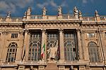 Palazzo Madama and Casaforte degli Acaja on Piazza Castello in Turin, Italy  at sunset