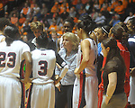 "Ole Miss coach Renee Ladner talks to the team during a timeout vs. Tennessee at C.M. ""Tad"" Smith Coliseum in Oxford, Miss. on Thursday, February 24, 2011.  Tennessee won 66-39."