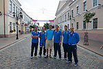St Johnstone v FC Minsk...31.07.13<br /> Gordon Bannerman pictured in Grodno, Belarus with the saints management team from left, Callum Davidson, Alec Cleland, Tommy Wright, Stevie Banks and Graham Kirk.<br /> Picture by Graeme Hart.<br /> Copyright Perthshire Picture Agency<br /> Tel: 01738 623350  Mobile: 07990 594431