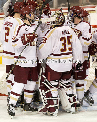 Brian Dumoulin (BC - 2), Chris Venti (BC - 30), Isaac MacLeod (BC - 7), Chris Kreider (BC - 19), Parker Milner (BC - 35), Edwin Shea (BC - 8) - The Boston College Eagles defeated the Providence College Friars 7-0 on Saturday, February 25, 2012, at Kelley Rink at Conte Forum in Chestnut Hill, Massachusetts.