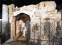 Pope Benedict XVI prays in the Grotto of the Church of the Annunciation, believed to stand at the site of Mary's house where angel Gabriel appeared and announced that she would give birth to Jesus Christ, in Nazareth, northern Israel, Thursday, May 14, 2009.