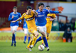 Motherwell v St Johnstone...28.01.12  .Jamie Murphy and Fran Sandaza.Picture by Graeme Hart..Copyright Perthshire Picture Agency.Tel: 01738 623350  Mobile: 07990 594431