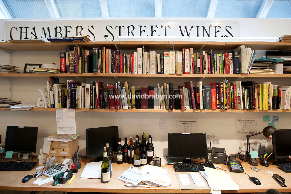 View of wine books on shelves in the back office at Chambers Street Wines in New York, NY, USA, 22 May 2009. The store specializes in naturally made wines from artisanal small producers and has received a Slow Food NYC Snail of Approval.