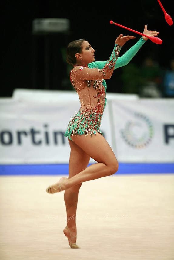 Alexandra Orlando of Canada performs with clubs at 2008 Portimao World Cup of Rhythmic Gymnastics on April 19, 2008.  Photo by Tom Theobald.