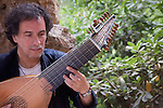 Baroque Lute Player in Guell Park, Barcelona, Spain