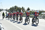 Trek-Segafredo team practice before the 1st stage of the race of the two seas, 52nd Tirreno-Adriatico by NamedSport a 22.7km Team Time Trial at Lido di Camaiore, Italy. 8th March 2017.<br /> Picture: La Presse/Fabio Ferrari | Cyclefile<br /> <br /> <br /> All photos usage must carry mandatory copyright credit (&copy; Cyclefile | La Presse)