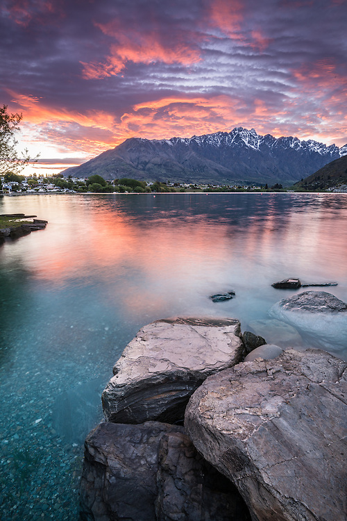 Sunrise at Lake Wakatipu and The Remarkables mountains, Queenstown, New Zealand