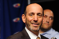 Major League Soccer Commissioner Don Garber answers questions after a New York Red Bulls press conference at Red Bull Arena in Harrison, NJ, on August 03, 2010.