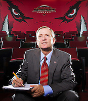 FAYETTEVILLE, AR - AUGUST 29:   University of Arkansas Athletic Director Jeff Long photographed in the Razorback football team meeting room on August 29, 2011 in Fayetteville, Arkansas.  (Photo by Wesley Hitt/Getty Images) *** Local Caption *** Jeff Long