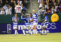 FC Dallas teammates (from L to R) David Ferreira (10), Bruno Guarda (8), Brek Shea (20) and Marvin Chavez (18) watch Jair Benitez (5) dance after the score on the penalty kick by David Ferreira during the second half of game between Chivas USA and FC Dallas at the Home Depot Center in Carson CA on June 26 2010. FC Dallas 2, Chivas USA 1.