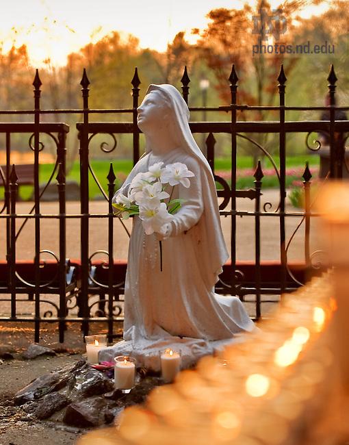 Mar. 25, 2012; St. Bernadette statue at the Grotto..Photo by Matt Cashore/University of Notre Dame