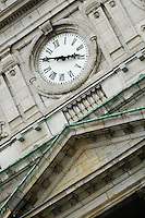 Canada, Montreal, Hotel de Ville, clock tower, detail