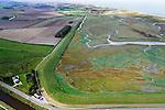 Nederland, Zeeland, Zeeuws-Vlaanderen, 19-10-2014; Het Zwin, oorspronkelijk zeearm, nu een strandgeul omgeven door schorren. Knokke en Zeebrugge aan de horizon.<br /> The Zwin, originally estuary, now a beach gully surrounded by marshes.<br /> luchtfoto (toeslag op standard tarieven);<br /> aerial photo (additional fee required);<br /> copyright foto/photo Siebe Swart