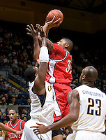 11 November 2009:  Eli Holman of Detroit shoots the ball during the game against California at Haas Pavilion in Berkeley, California.   California defeated Detroit, 95-61.