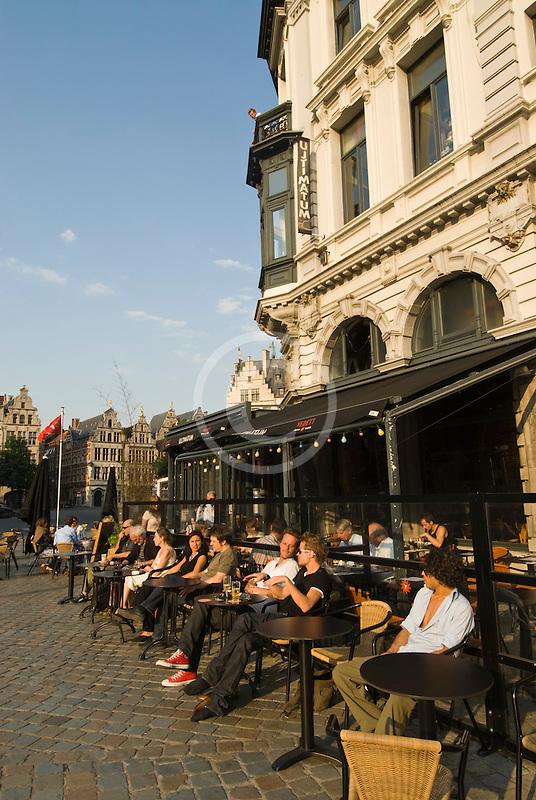 Belgium, Antwerp, Outdoor Cafe, Grote Markt