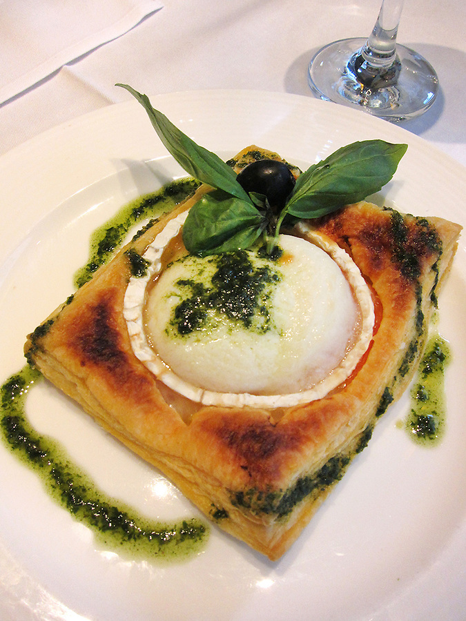 Cheese in puff pastry with basil aioli, Paris, France