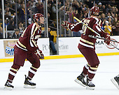Patrick Brown (BC - 23), Pat Mullane (BC - 11) - The Boston College Eagles defeated the Harvard University Crimson 4-1 in the opening round of the 2013 Beanpot tournament on Monday, February 4, 2013, at TD Garden in Boston, Massachusetts.