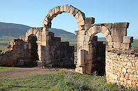 The Tingis Gate, built 169 AD, forming the North East entrance to the city at the Tangiers Gate at the end of the Decumanus Maximus, Volubilis, Northern Morocco. Volubilis was founded in the 3rd century BC by the Phoenicians and was a Roman settlement from the 1st century AD. Volubilis was a thriving Roman olive growing town until 280 AD and was settled until the 11th century. The buildings were largely destroyed by an earthquake in the 18th century and have since been excavated and partly restored. Volubilis was listed as a UNESCO World Heritage Site in 1997. Picture by Manuel Cohen