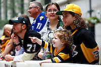 Crowds gather along Grant Street prior to the start of the Pittsburgh Penguins Stanley Cup victory parade in downtown Pittsburgh, Pennsylvania on June 15, 2016. (Photo by Jared Wickerham / DKPS)