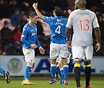 St Mirren v St Johnstone...06.12.14   SPFL<br /> Michael O'Halloran celebrates his goal with Simon Lappin<br /> Picture by Graeme Hart.<br /> Copyright Perthshire Picture Agency<br /> Tel: 01738 623350  Mobile: 07990 594431