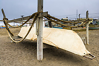 Umiak stored along the coast in Barrow (Utqiagvik), Alaska. Made from walrus hides and used for whale hunting.