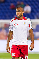 Thierry Henry (14) of the New York Red Bulls prior to playing Toronto FC. The New York Red Bulls defeated Toronto FC 4-1 during a Major League Soccer (MLS) match at Red Bull Arena in Harrison, NJ, on September 29, 2012.