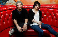 Scott Simons (right), vocalist/keyboards, and Dani Buncher (left), vocalist/drummer, of indie/pop Pittsburgh-based band, TeamMate, pose for a portrait following their show with fellow Rostrum Records band Donora at Brillobox in the Bloomfield neighborhood of Pittsburgh, Pennsylvania on February 10, 2012.