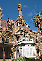 """Galveston: Gresham's Castle--Also known as Bishop's Palace. Architect Nicholas J. Clayton 1889-93. Victorian, now a Conservatory, Broadway & 14th. National Register of Historic Places, 1970. This house is """"Clayton's Masterpiece"""".  Photo '96."""