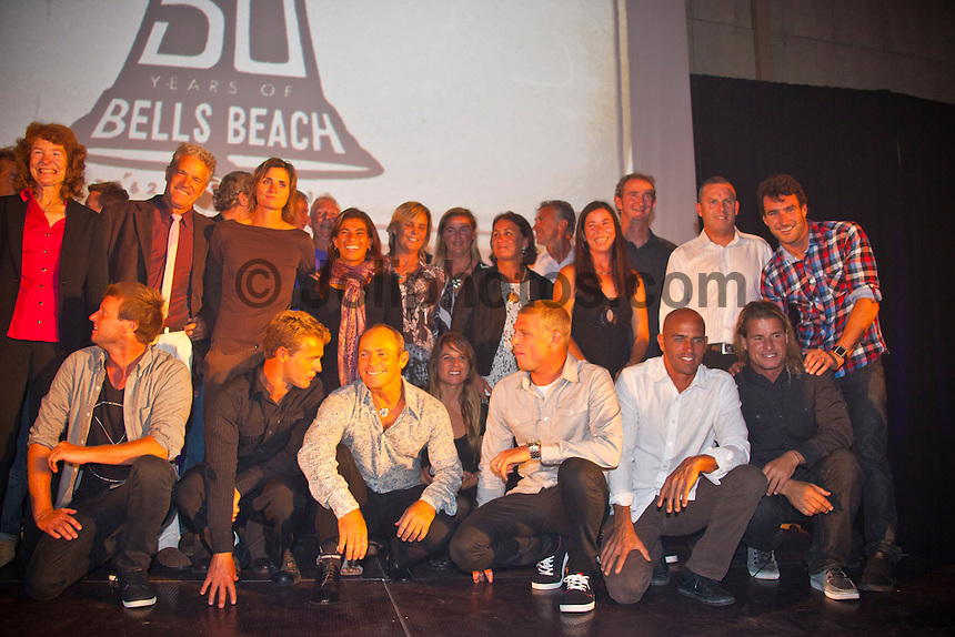 BELLS BEACH, Victoria/Australia (Friday, April 22, 2011) -  Last night celebrated 50-years of competitive surfing at the Rip Curl Pro and the Bells Beach Easter Rally at Bells Beach, Australia's ancestral home of surfing. To honour this milestone a 50 th Anniversary Surfers Ball was held at Surfworld in Torquay, with some of surfing's biggest names in attendance...Iconic names of the sport included Nat Young (AUS), four times World Surfing Champion Mark Richards(AUS), seven times World Surfing Champion Layne Beachley (AUS), two  times World Surfing Champion Tom Carroll (AUS), Damien Hardman (AUS), four times World Surfing Champion Stephanie Gilmore (AUS), former World Surfing Champion Mark Occhilupo (AUS), trhee times World Surfing Champion Tom Curren (USA) and  current ten times World Surfing Champion Kelly Slater  (USA) were on hand to pay homage to the longest running surfing event in the world. . - Photo: joliphotos.com