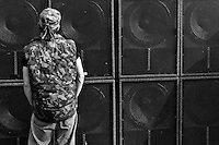 "A young man dances in front of the speakers of a Sound System at Czech Free Tekno Festival ""Czarotek"" close to Kv?tná, Czech Republic, 1 May 2009."