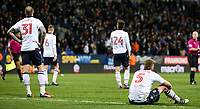 Bolton Wanderers' Mark Beevers reacts by sitting down after the final whistle<br /> <br /> Photographer Alex Dodd/CameraSport<br /> <br /> The EFL Sky Bet League One - Bolton Wanderers v Bury - Tuesday 18th April 2017 - Macron Stadium - Bolton<br /> <br /> World Copyright &copy; 2017 CameraSport. All rights reserved. 43 Linden Ave. Countesthorpe. Leicester. England. LE8 5PG - Tel: +44 (0) 116 277 4147 - admin@camerasport.com - www.camerasport.com