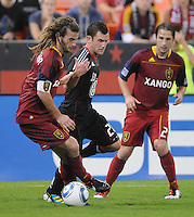 Real Salt Lake midfielder Kyle Beckerman (5) shields the ball against D.C. United midfielder Stephen King (20). D.C. United defeated Real Salt Lake 4-1 at RFK Stadium, Saturday September 24 , 2011.