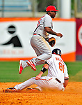 13 March 2009: St. Louis Cardinals' infielder Joe Thurston jumps over a sliding Craig Brazell in a double-play during a Spring Training game against the Baltimore Orioles at Fort Lauderdale Stadium in Fort Lauderdale, Florida. The Cardinals defeated the Orioles 6-5 in the Grapefruit League matchup. Mandatory Photo Credit: Ed Wolfstein Photo
