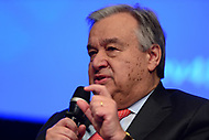 """Washington, DC - April 21, 2017:  United Nations Secretary General Antonio Guterres participates in the""""Financing for Peace"""" panel discussion during the annual Spring Meetings of the IMF/World Bank Group at the IMF headquarters in the District of Columbia April 21, 2017.  (Photo by Don Baxter/Media Images International)"""