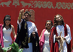 Christian Ramses Reyes portrays Jesus Christ as he is under trial before Poncio Pilatos during the Via Crucis in the neighborhood of Iztapalapa, April 14, 2006. Almost a million people attend the procession of Good Friday in this  neighborhood of Mexico City, where for 163 years the Iztapalapa neighborhood residents have taken part in a re-enactment of Christ's crucifixion.  Photo by © Javier Rodriguez