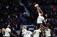 Leone Nakarawa of Fiji competes for the ball at a lineout. Old Mutual Wealth Series International match between England and Fiji on November 19, 2016 at Twickenham Stadium in London, England. Photo by: Patrick Khachfe / Onside Images