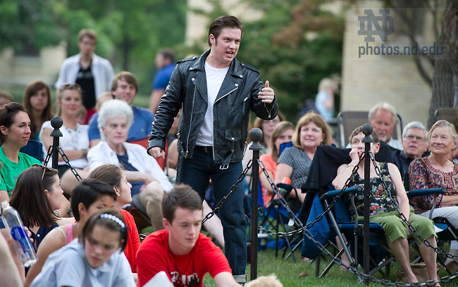"Aug, 26, 2013; Actor Nathan Goodrich from the Young Company performs in Shakespeare's "" The Comedy of Errors"" on the Main Building Quad (in front of the Golden Dome). Photo by Barbara Johnston/University of Notre Dame"
