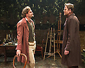 London, UK. 21.11.2013.  LIZZIE SIDDAL, a new play by Jeremy Green, opens at the Arcola Theatre. Picture shows: Tom Bateman (Dante Gabriel Rosetti) and Simon Darwen (William Holman Hunt). Photograph © Jane Hobson.